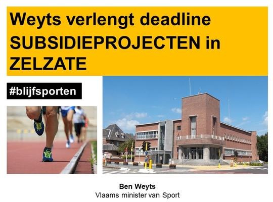 Ben Weyts verlengt deadline van twee sportinfrastructuurprojecten in Zelzate