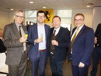 Huub Broers, Sander Loones, Siegfried Bracke en Maldegems voorzitter Lieven Bauwens
